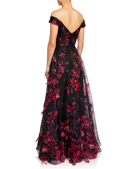 Marchesa Notte Off-the-Shoulder Floral-Printed Striped