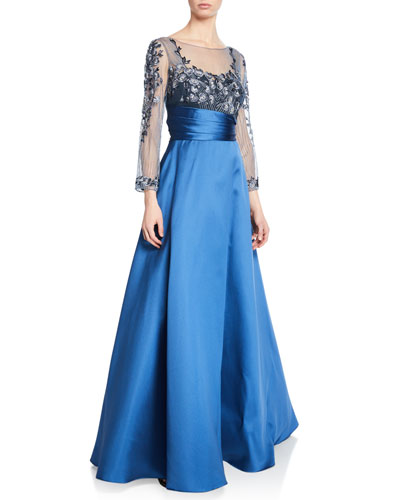 Sweetheart Illusion Mikado Ball Gown w/ 3D Floral-Embroidered Bodice