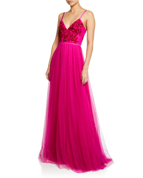V-Neck Sleeveless Embroidered Beaded Bodice Point D'Esprit Gown