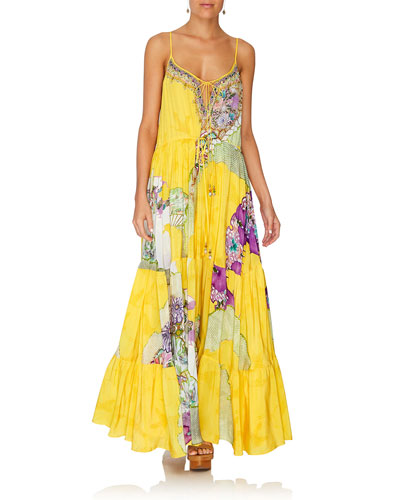 Printed Tie-Front Silk Tiered Maxi Dress