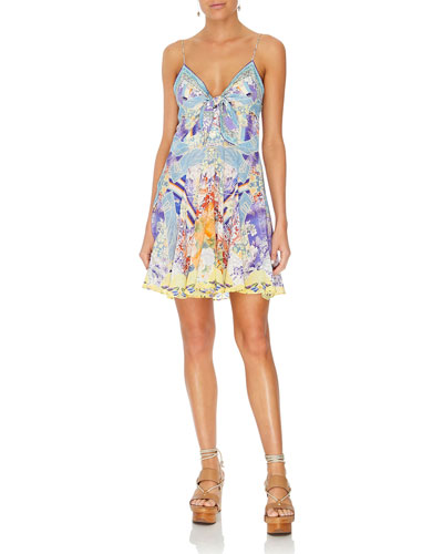 Printed Tie-Front Silk Pleated Short Dress