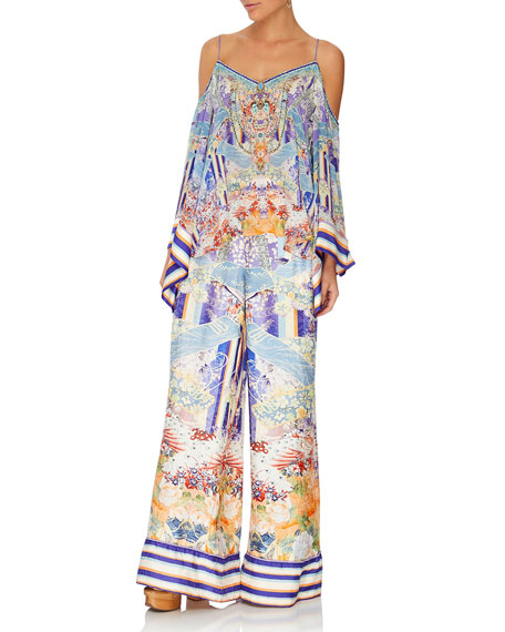 Camilla Printed Silk Wide-Leg Pants w/ Cuffs
