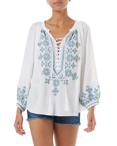 Shiv Embroidered Lace-Up Coverup Tunic