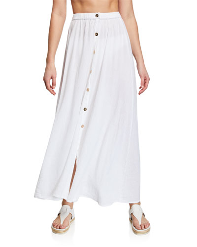 Dru Button-Front Maxi Skirt Coverup