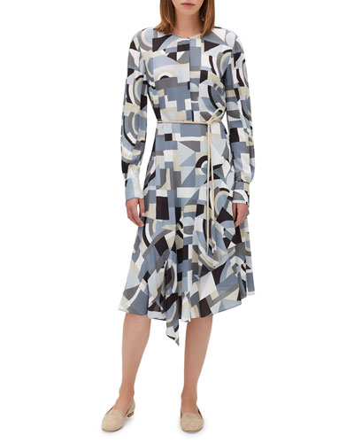 Paris Long-Sleeve Printed Dress w/ Belt