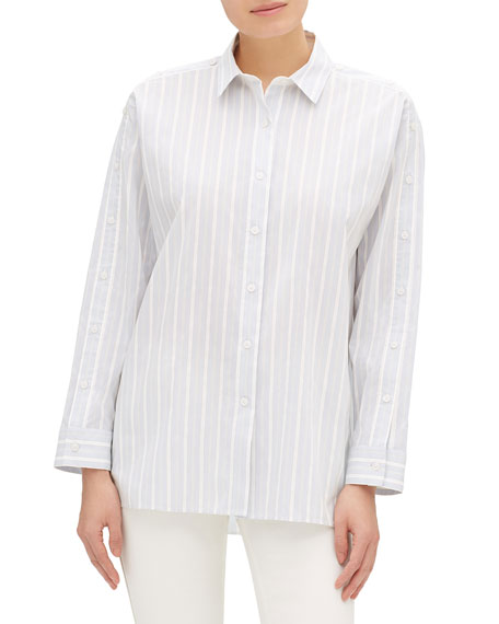 Trinity Striped Button-Front Blouse With Button Trim Detail in Blue Pattern