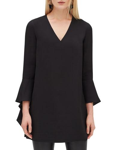 Rosita Flared-Sleeve Silk Top