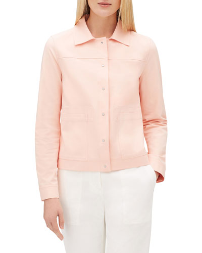 Suri Button-Front Long-Sleeve Solid Jacket w/ Patch Pockets