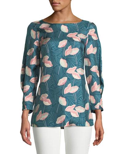 Caddie 3/4-Sleeve Floral Silk Blouse  Plus Size