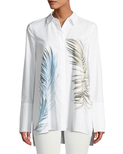Porto Placed Palms Button-Front Cotton Blouse, Plus Size