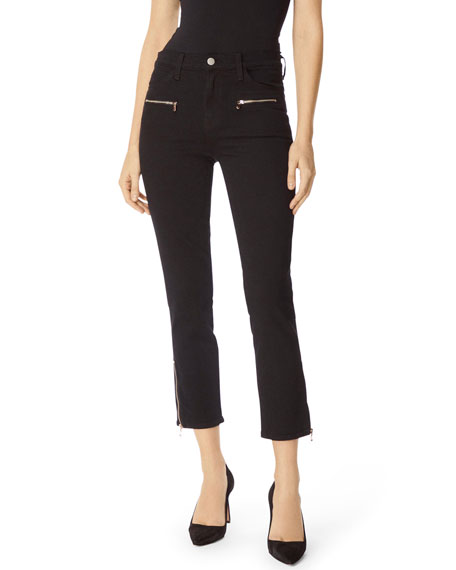 Ruby High-Rise Cropped Moto Cigarette Jeans