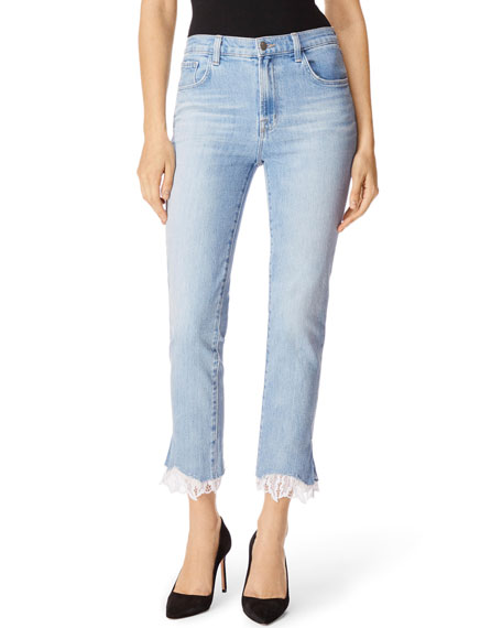 Ruby High-Rise Cropped Cigarette Jeans w/ Lace Hem