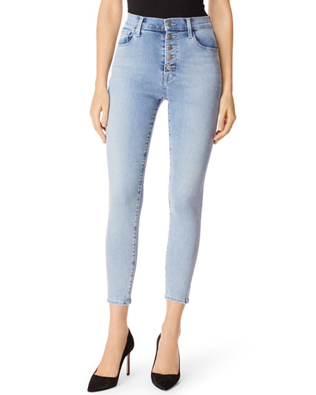 J Brand Jeans LILLIE HIGH-RISE CROPPED SKINNY JEANS W/ BUTTON FLY