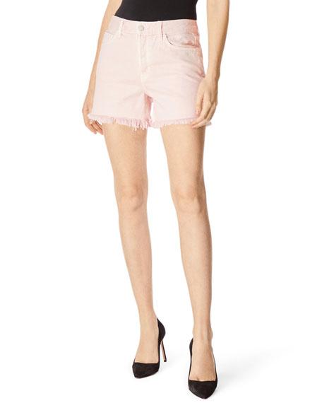 J Brand Gracie High-Rise Shorts w/ Shredded Hem
