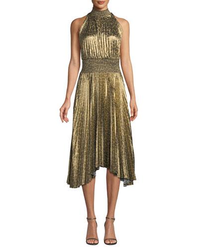 Renzo High-Neck Pleated Midi Dress