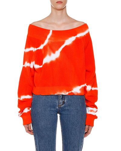 Tie-Dye Off-the-Shoulder Long-Sleeve Sweater