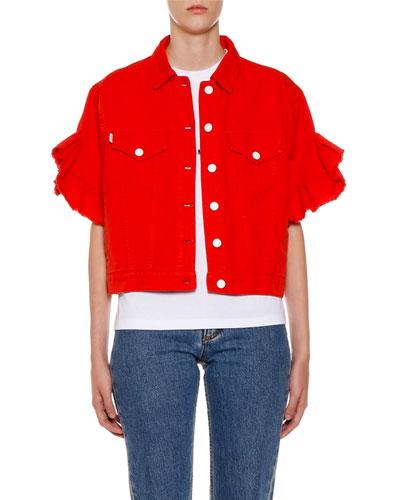 Button-Front Ruffle-Sleeve Denim Jacket