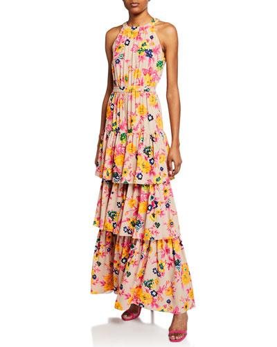 Floral-Print Halter Ruffle Maxi Dress