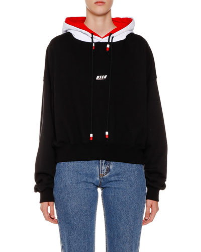 Cotton Logo Pullover Sweatshirt w/ Double Hood