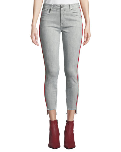 Twisted Seam Skinny Step-Hem Mid-Rise Jeans