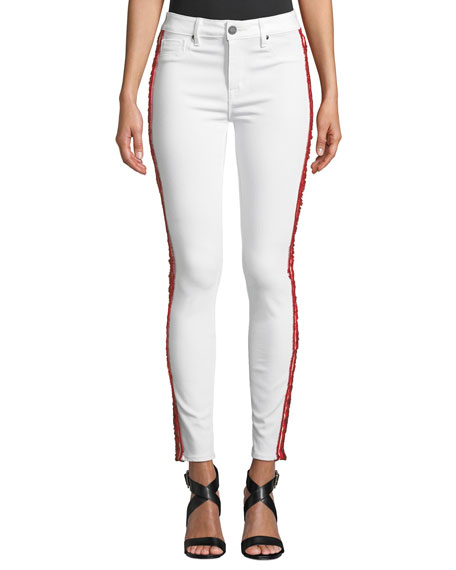 PARKER SMITH Ava Mid-Rise Ankle Skinny Jeans With Side Ribbon in Eternal White