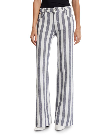 PARKER SMITH Mid-Rise Striped Denim Palazzo Pants in Sailor