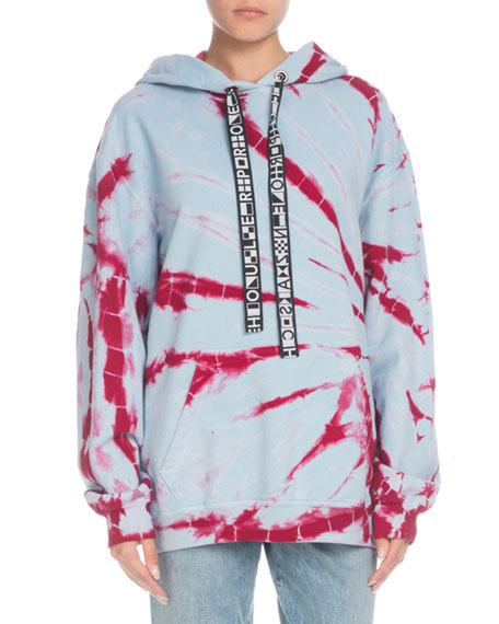 Proenza Schouler PSWL Hooded Tie-Dye Pullover Sweatshirt