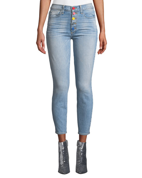 AO.LA BY ALICE + OLIVIA Good High-Rise Exposed Button Skinny Jeans in Sunny Side