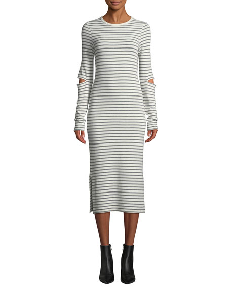 The Quince Striped Cutout Long-Sleeve Midi Dress