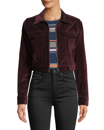 Clyde Cropped Velvet Zip-Front Trucker Jacket