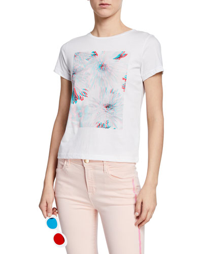 811 Floral 3D Graphic Cotton Tee