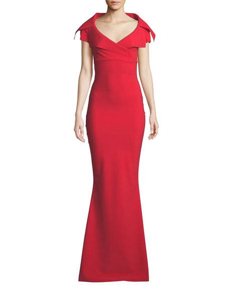 Aurellina Collared Cap-Sleeve Gown
