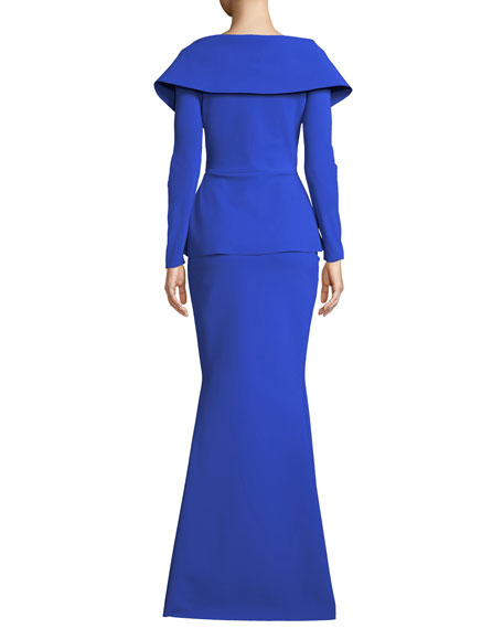 be52b3be Chiara Boni La Petite Robe Venussia Portrait-Neck Peplum Gown