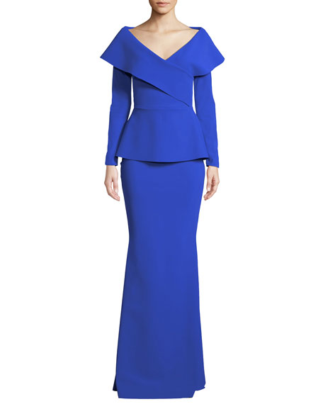 Shop Chiara Boni La Petite Robe Venussia Portrait Neck Peplum Gown