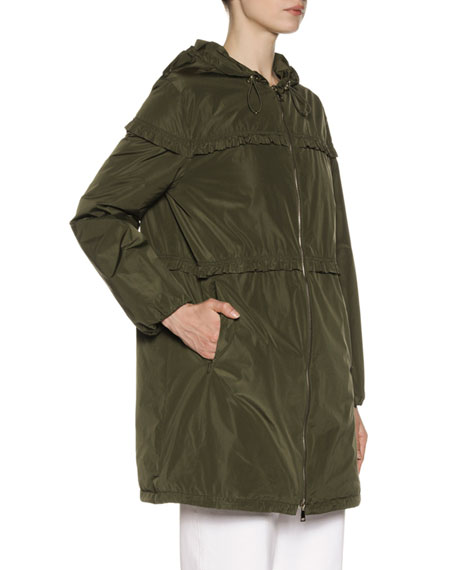 Luxembourg Hooded Ruffle-Trim Jacket