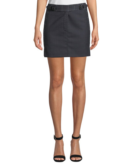James Check Wool Short Skirt in Htpnk/Nvychk