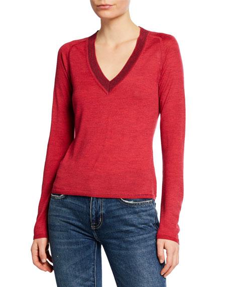 Pamela Merino Wool V-Neck Sweater
