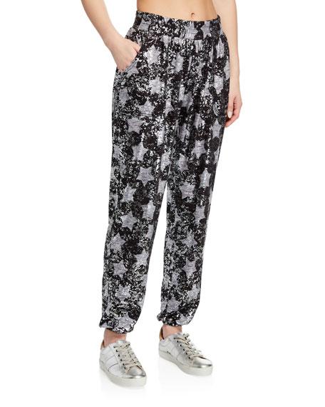 Terez Pants FOIL STAR-PRINT PULL-ON JOGGER PANTS