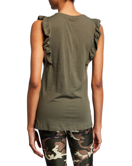 Scoop-Neck Frill Logo Muscle Tank