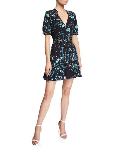 Talisa V-Neck Short-Sleeve Floral-Print Mini Dress