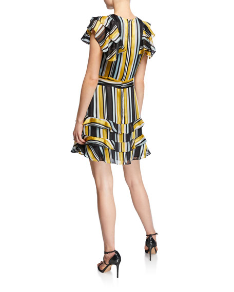 Elijah Striped Chiffon Flutter-Sleeve Dress