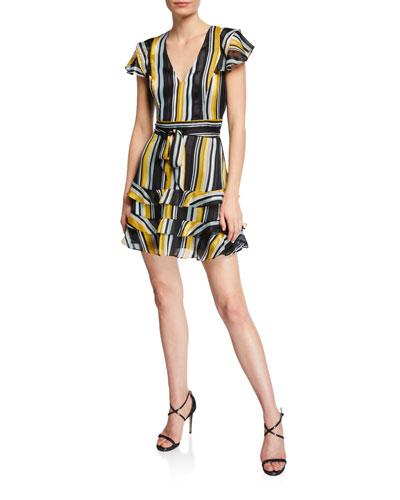 Elijah Striped Chiffon Flutter-Sleeve Dress