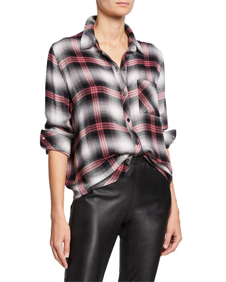 Hunter Button-Front Plaid Top
