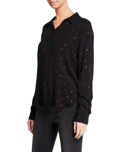 Rocsi Cherry-Patterned Button-Front Shirt