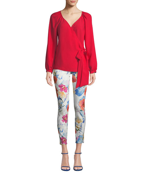 The Ankle Skinny Mid-Rise Floral-Print Jeans