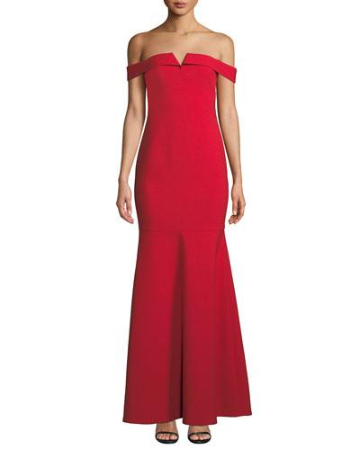 Misisco Off-the-Shoulder Trumpet Gown w/ Godet Hem