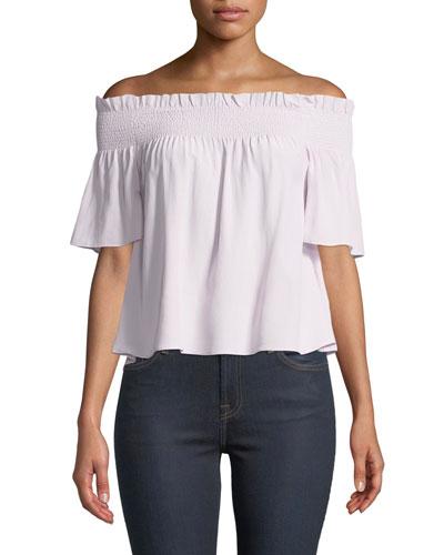 Off-Shoulder Smocked Silk Blouse