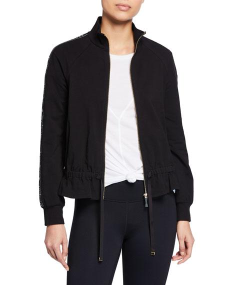 kate spade new york logo ruffle zip-front jacket
