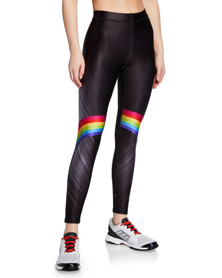 Rainbow-Print High-Rise Performance Leggings