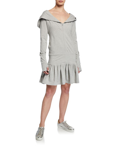 Rara Zip-Hood Long-Sleeve Hoodie Dress
